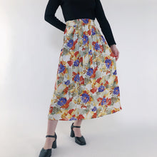Load image into Gallery viewer, VINTAGE - 80s FLORAL BRIGHT MIDI SKIRT - SIZE S