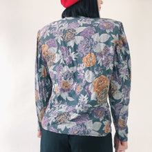 Load image into Gallery viewer, VINTAGE - 80s PURPLE ORANGE FLORAL BLOUSE - SIZE 10