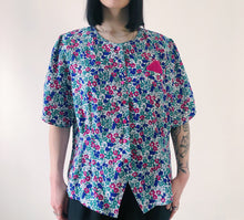 Load image into Gallery viewer, VINTAGE - 80s PINK GREEN FLORAL BLOUSE - SIZE M