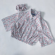 Load image into Gallery viewer, REWORK CROP BLOUSE - WHITE PINK FLORAL - SIZE 6/8