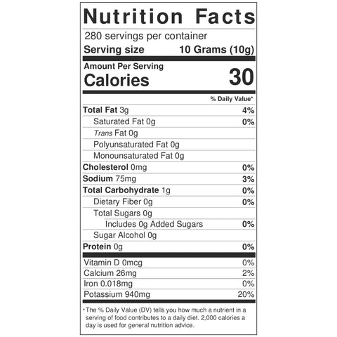 Crushed Calabrian Chili Peppers Tub NutritionLabel