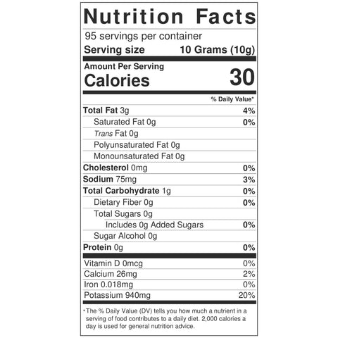 Crushed Hot Chili Peppers 33.5 Oz. Nutrition Label