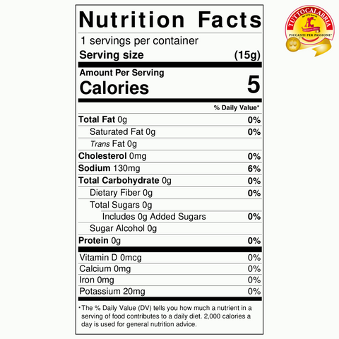 Calabrian Hot & Tangy Nutritional Label