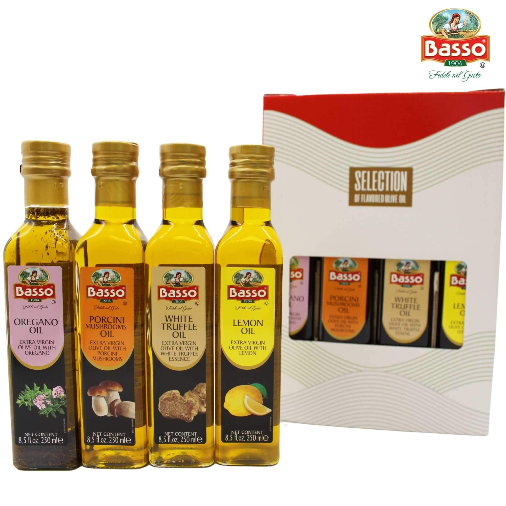Basso Extra Virgin Olive Oil 4 Pack 8.5 fl oz Oregano Lemon Porcini White Truffle