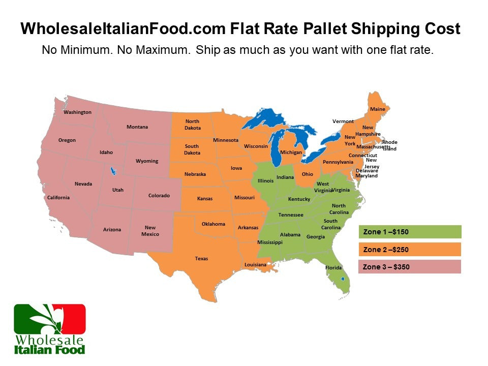 flat rate shipping one cost no minimum no maximum ship as much as you want of imported italian foods