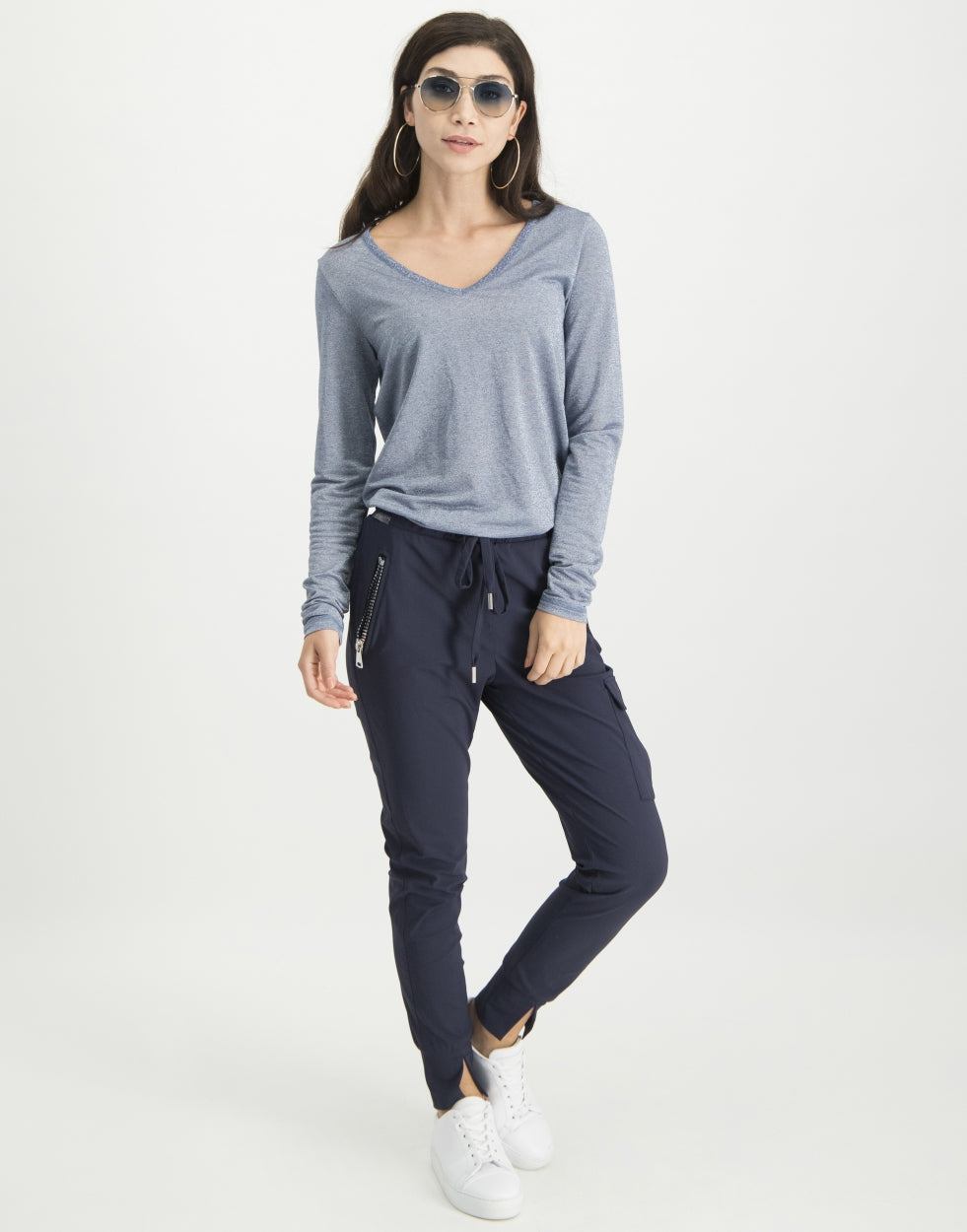 Grace Long Sleeve Top | Blue Melange