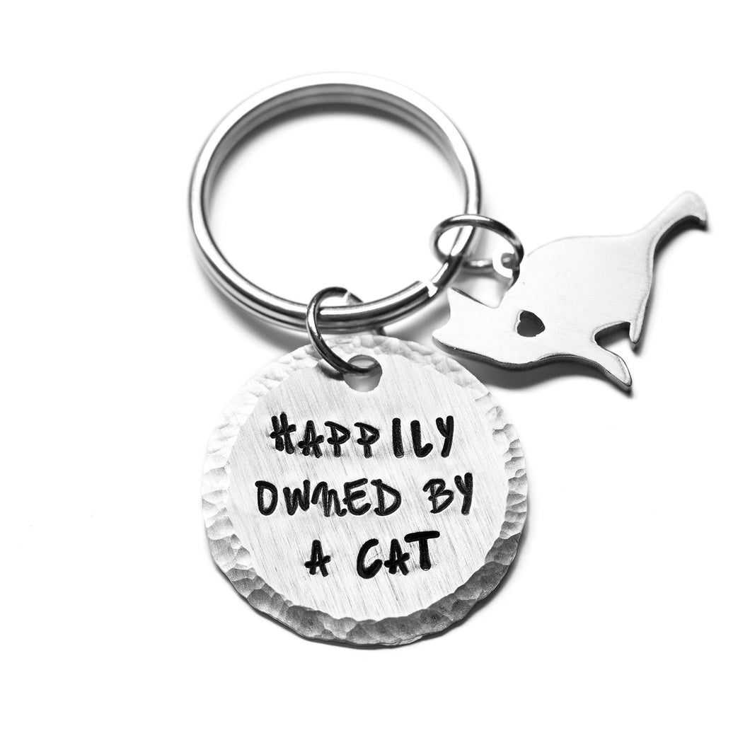 Keychain - Happily Owned by a Cat
