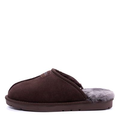 Men Sheepskin Scuff Chocolate - Roozee Australia