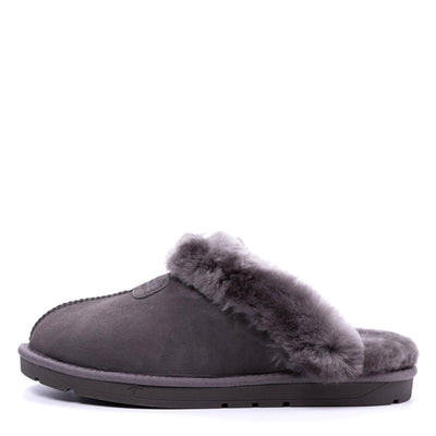 Women Sheepskin Scuff Grey - Roozee Australia