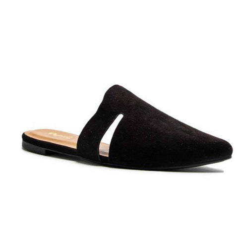 Black Suede Slip On Flat Mules