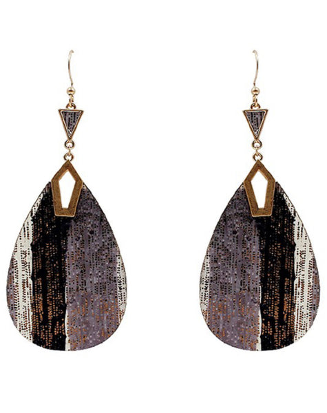 Teardrop Shape Glitter Leather Hook Earrings