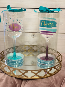 """Yay"" & ""Cheers"" Wine Glasses"