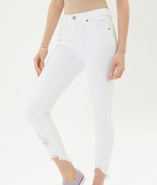 Kan Can Ankle Detail Skinny White Jeans