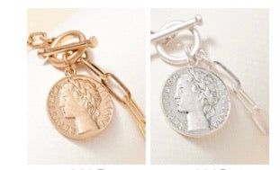 Coin Charm & Toggle Closure Bracelet