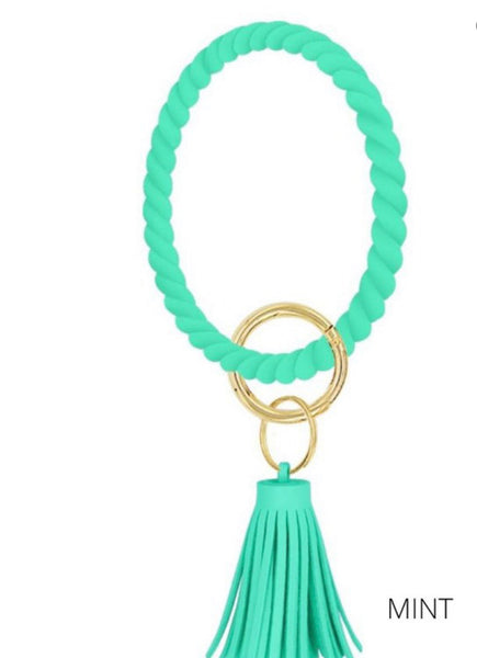 Silicone Twisted Key Ring with Tassel