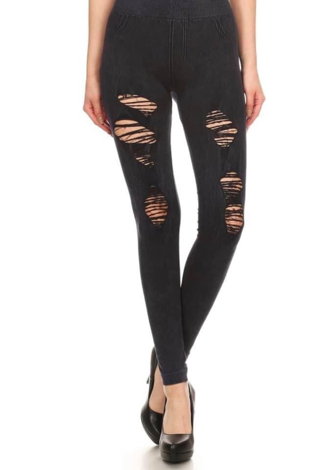 Charcoal Distressed High Waisted Leggings