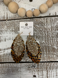 Leopard & Gold Feather Earring