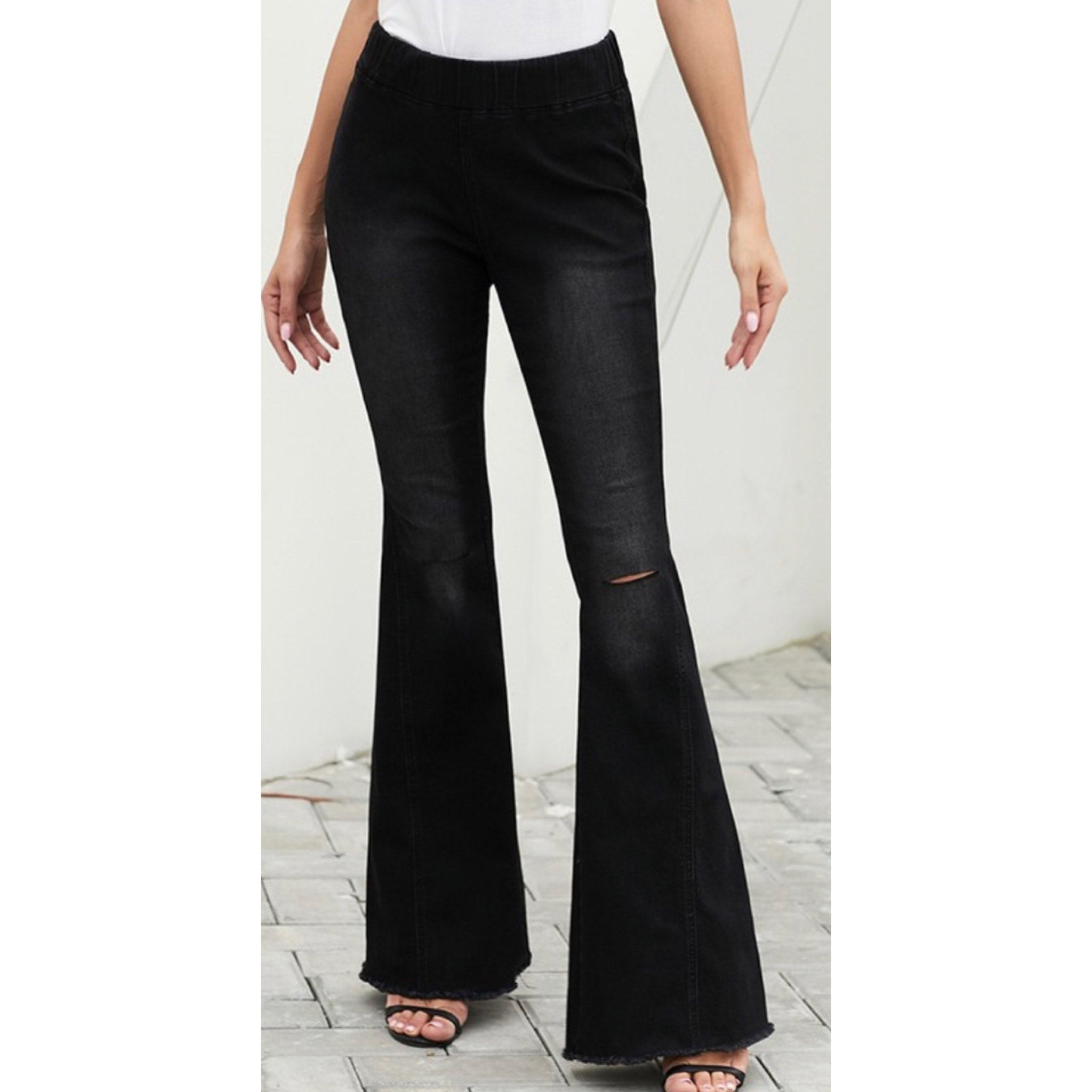 Black Bell Bottom Flare Denim Jeans