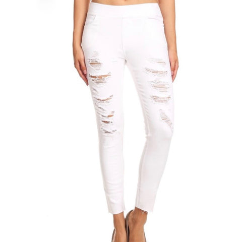 White Ripped Detail Skinny Jeans