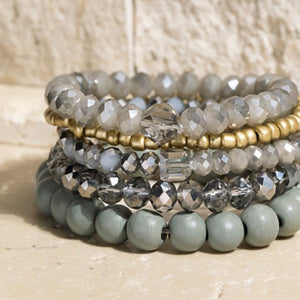 Grey Wood, Crystal & Metal Bead 4 Layer Stretch Bracelet Set