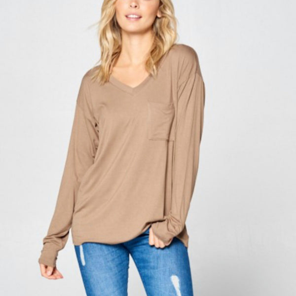 Solid Pocket Long Sleeve Basic Top