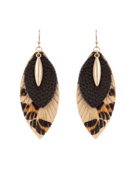 Animal Print Layered Faux Leather Earrings