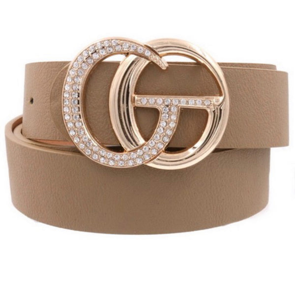 Rhinestone Studded Double Ring Buckle Belt