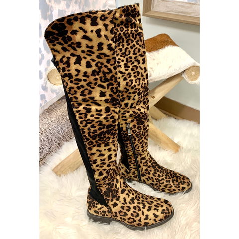 Black & Taupe Leopard Over the Knee Boots