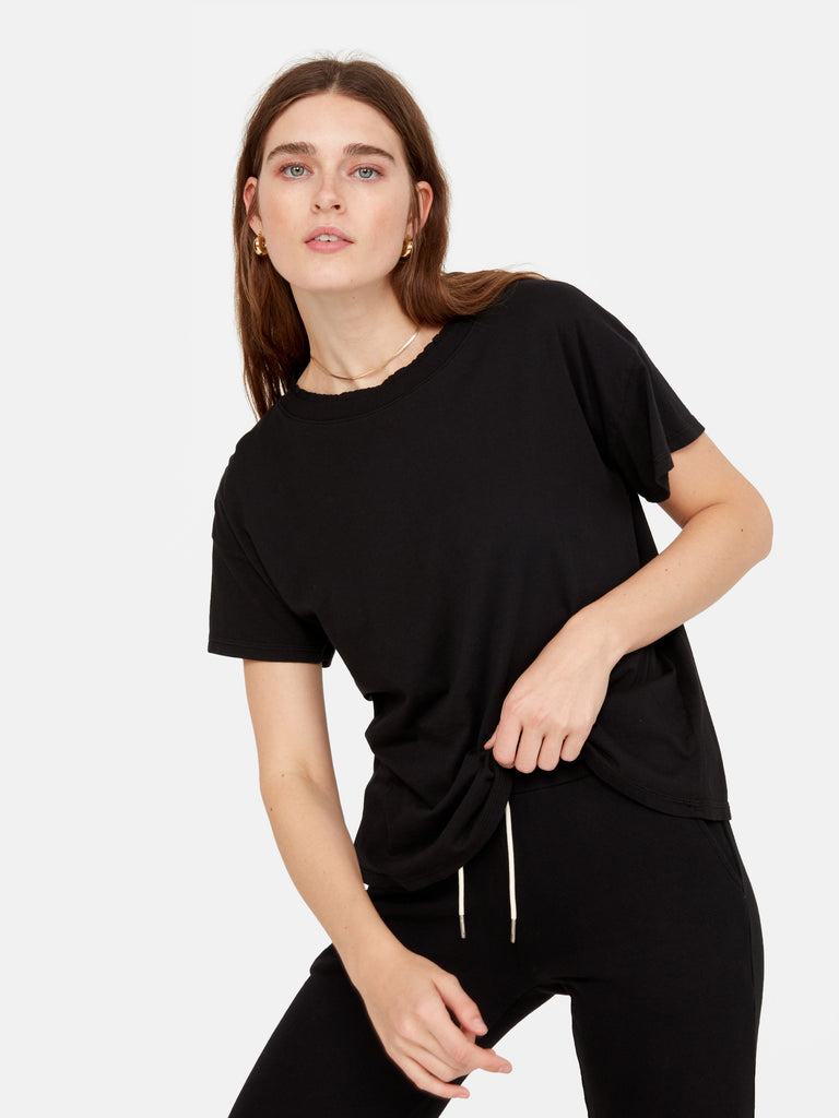 Organic Cotton Raw Neck Boxy Tee