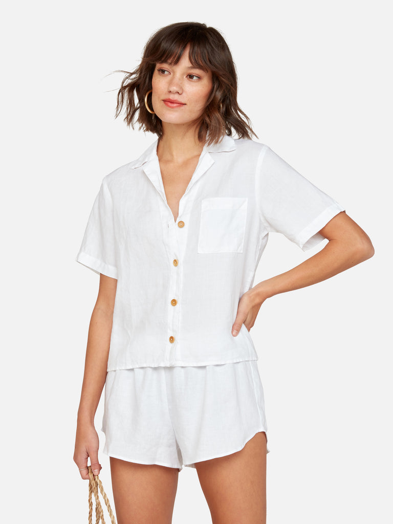 Linen Boxy Button-Up Shirt