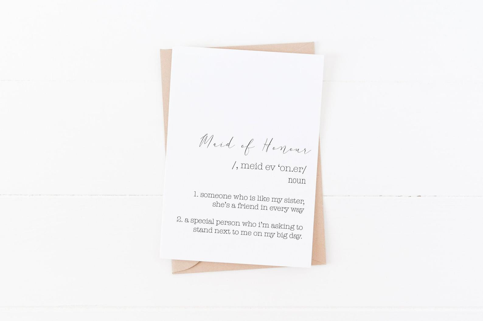 Maid of Honour Proposal Card | Size A6
