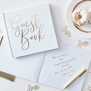 White and Gold Foiled Wedding Guest Book