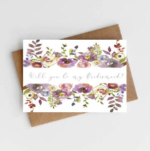 Will you be my Bridesmaid - Size A6 - Wedding Stationery - Watercolour Floral