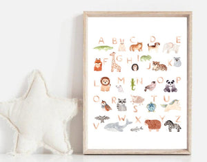 Children's A-Z Nursery Bedroom Wall Art | Nursery Prints