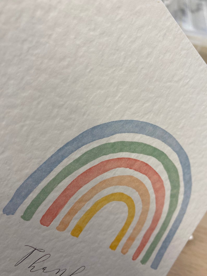 Personalised Thank you Card | Size A6 | Personalised Keyworker Card | Rainbow Thank you Card