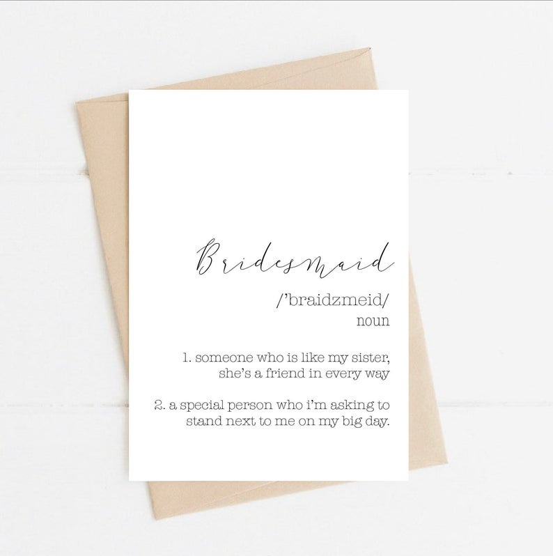 Bridesmaid Proposal Card | Size A6 | Will you be my Bridesmaid? | Bridesmaid Meaning Card