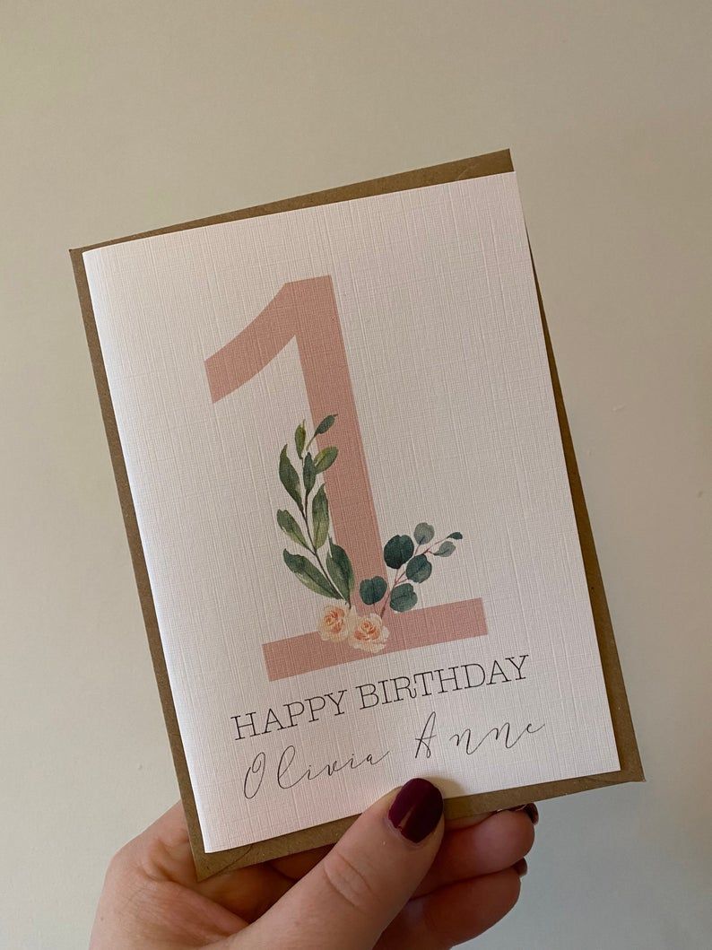 Personalised Children's Age Birthday Card | Size A6 | Girl's Number Birthday Card