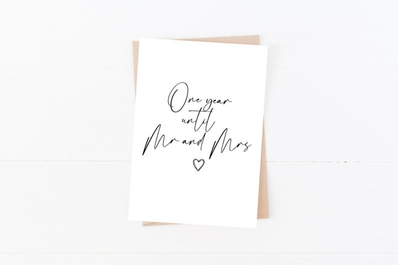 One Year Until Mr and Mrs | Size A6 | Wedding Day Card
