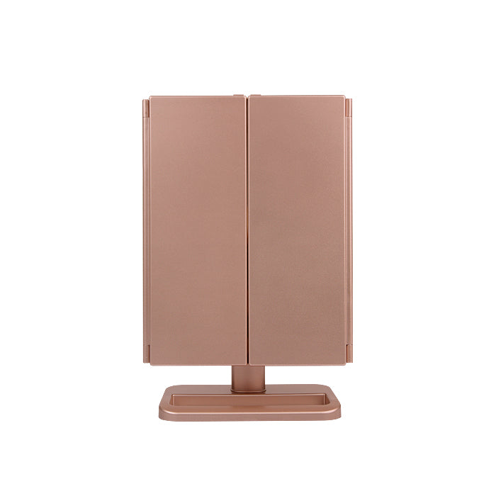 Glammar Hollywood Vanity Mirror Tri-Fold LED Portable Rose Gold