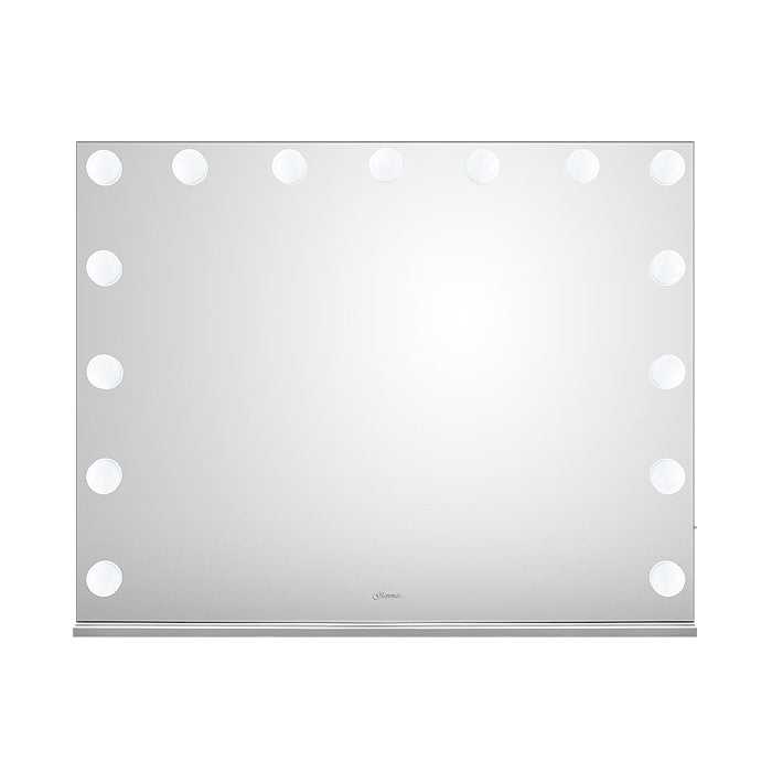Glammar Hollywood Vanity Mirror With Bulbs Horizontal Large Silver