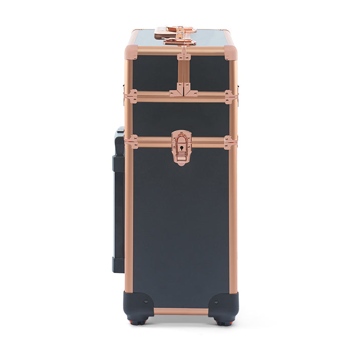 Justine Case Hair & Beauty Trolley Black & Rose Gold 2 Tiers