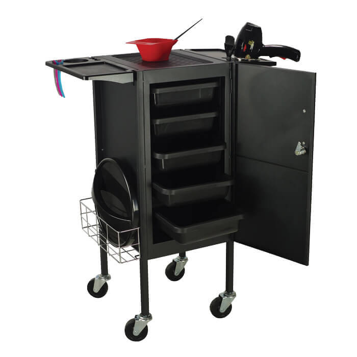 Glammar Carina Lockable Trolley Black - salonfurnitureco