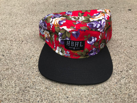 HBHL Camper 5 Panel Red Floral Hat