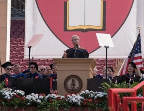 Tim Cook, CEO of Apple, Inc. speaking with a TeleStepper Robotic Teleprompting System to an audience at Stanford University Commencement