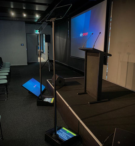 Teleprompter and a stage