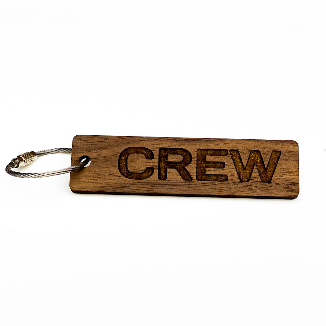 Wooden Crew Tag with Ring for Keys, Luggage and Gifts