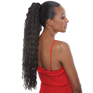 Janet Noir Drawstring Ponytail - Avocado