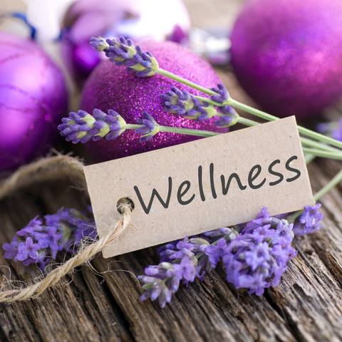Wellness card for moms with lavender and purple balls. Moms deserve wellness at home, at work, and their way.