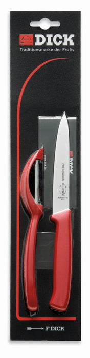 F. Dick (8570010-03) Knife Set with Peeler, 2-Pieces, Red Handle-cityfoodequipment.com