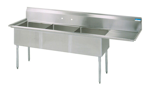 BK Resources BKS-3-18-12-18R Commercial Stainless Steel 3-Compartment Sink RDB-cityfoodequipment.com